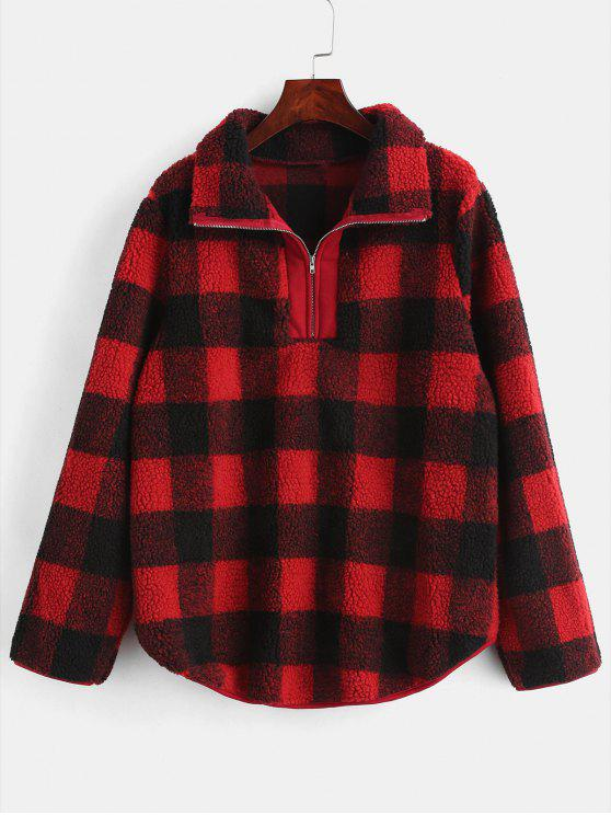 best Half Zip Plaid Faux Fur Sweatshirt - RED M