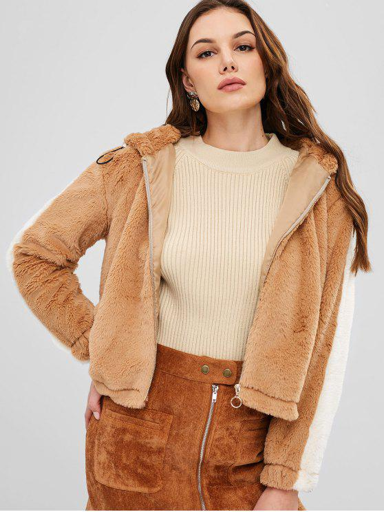 outfit ZAFUL Zip Up Hooded Faux Fur Coat - LIGHT BROWN M