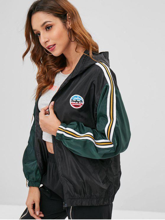 womens Hooded Training Windbreaker Jacket - BLACK XL