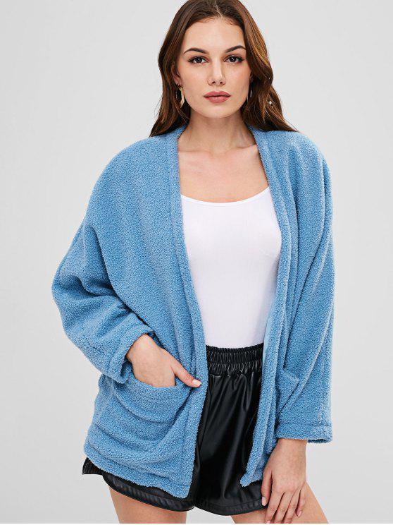 lady ZAFUL Open Front Pockets Fluffy Coat - BABY BLUE L