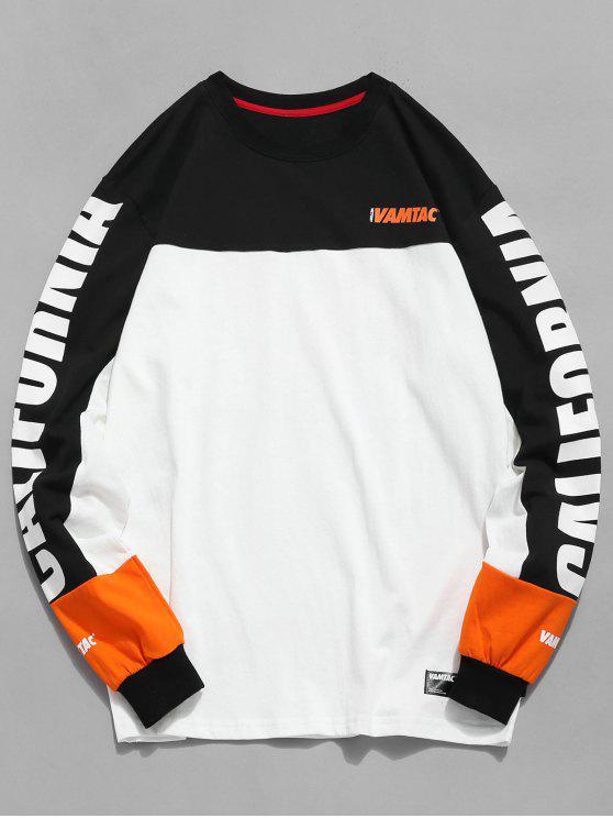 Farbblock-Buchstabe-Druck-Grafik-T-Shirt - Weiß M