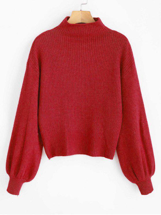 sale Lantern Sleeve Mock Neck Plain Sweater - LAVA RED ONE SIZE