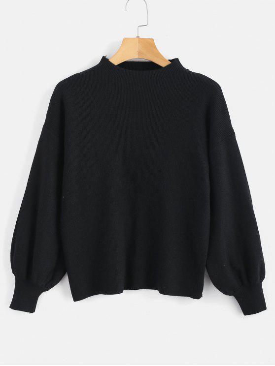 hot Drop Shoulder Plain Lantern Sleeve Sweater - BLACK ONE SIZE