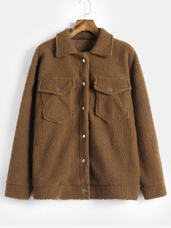 Manteau Teddy Fourré avec Bouton Pression en Fausse Laine - Bois M