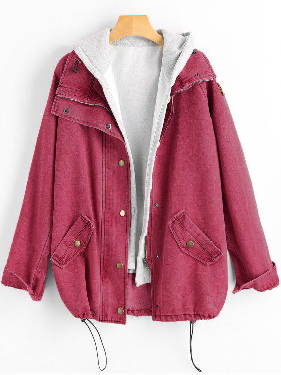 ladies Button Up Denim Jacket and Hooded Vest - CHERRY RED XL
