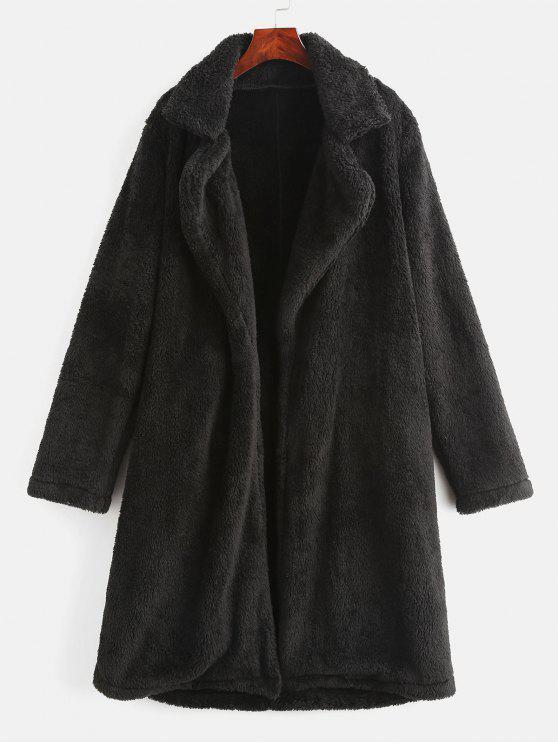 ladies Lapel Collar Plain Faux Fur Teddy Coat - BLACK XL