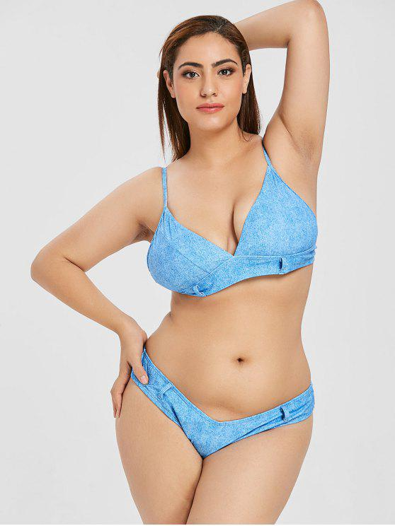 ZAFUL Plus Größe Faux Denim Cami Bikini Set - Seiden Blau 2XL