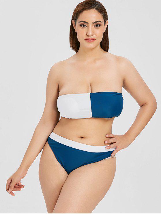 ZAFUL Bikini Bandeau Bicolore Grande Taille - Multi 1X