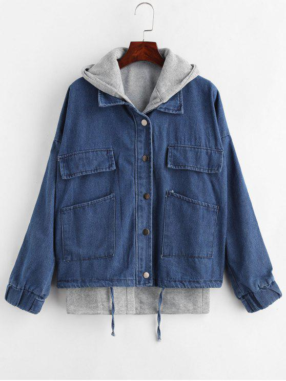 online Hooded Waistcoat and Denim Jacket Set - DENIM DARK BLUE S