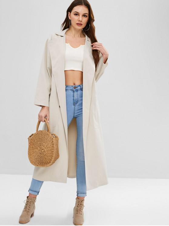 shops ZAFUL Double Breasted Trench Coat - COOL WHITE L