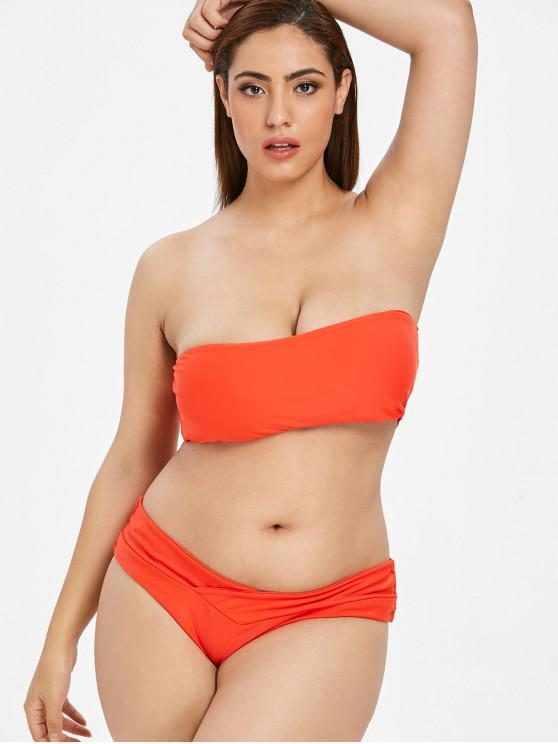 shop ZAFUL Bandeau Plus Size Bikini Set - BRIGHT ORANGE 2X