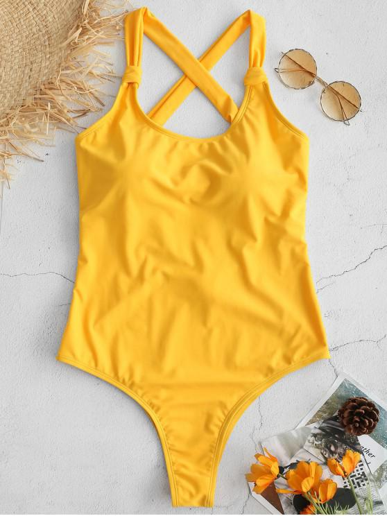 affordable ZAFUL High Cut Backless Cross Swimsuit - RUBBER DUCKY YELLOW S