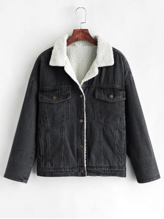 Caída de hombro chaqueta de mezclilla de lana - Negro M