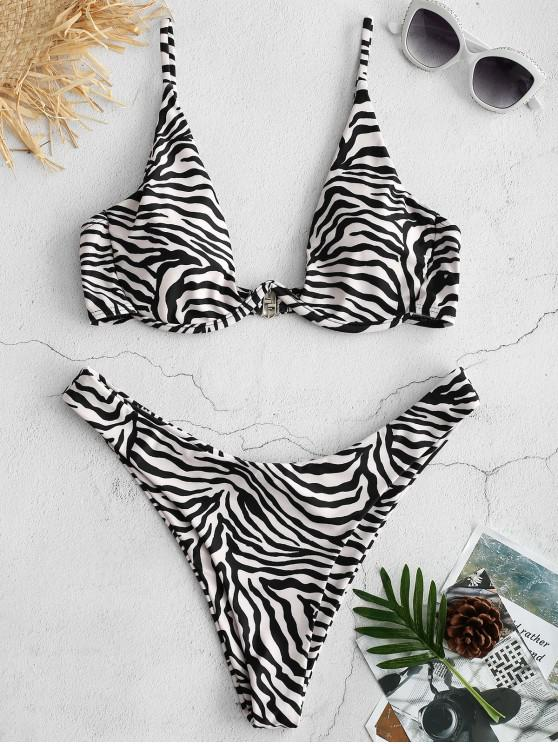 ZAFUL Ensemble de Bikini Zèbre à Coupe Haute - Multi M