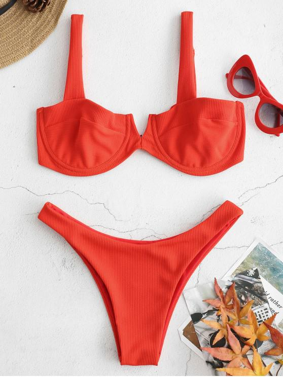trendy Ribbed Knit Underwire Bikini - BRIGHT ORANGE M