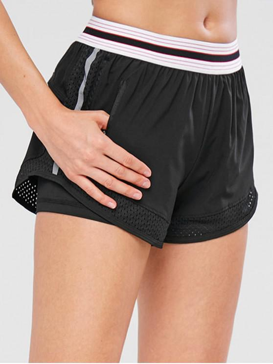 Shorts de Bolso Listrado Perfurado - Preto M