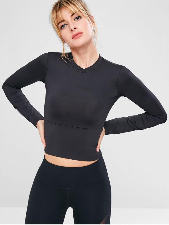 lady Sport Yoga Gym Slim Tee - BLACK L