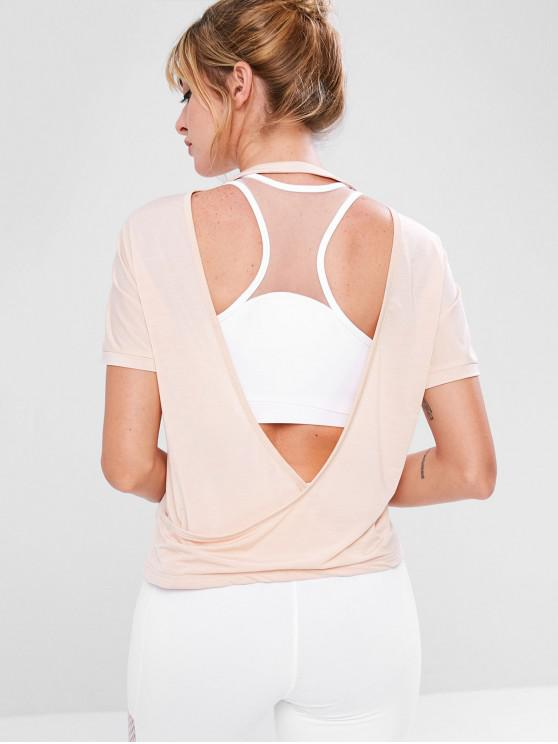 trendy ZAFUL Surplice Backless Gym Tee - APRICOT L