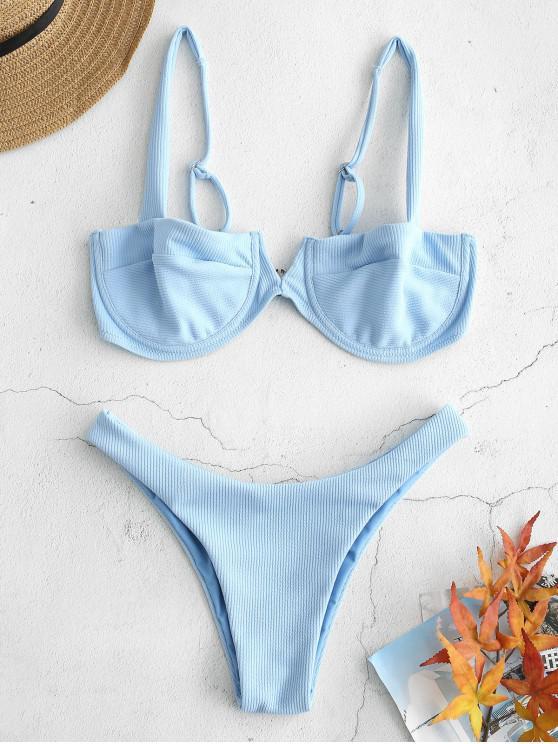 fancy Ribbed Knit Underwire Bikini - LIGHT BLUE M
