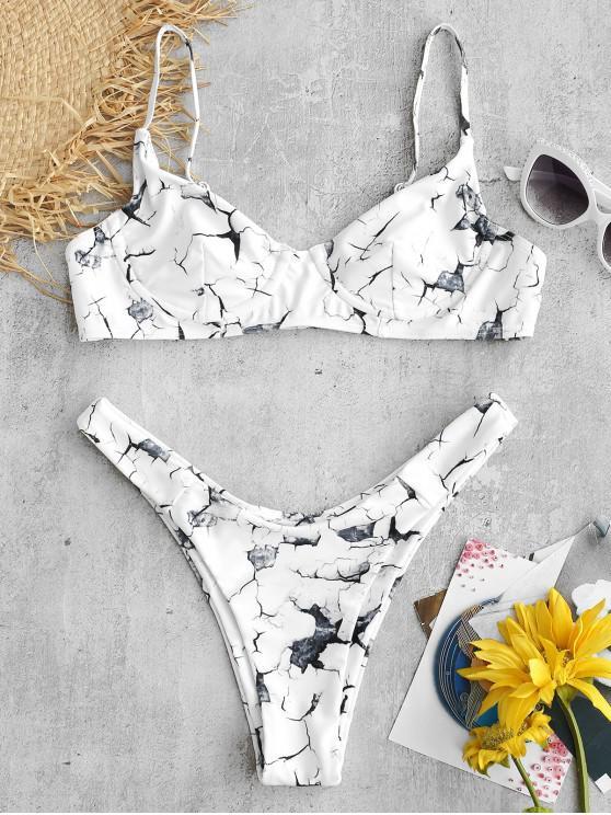 Bikini con Aros con Estampado de Mármol ZAFUL - Blanco S