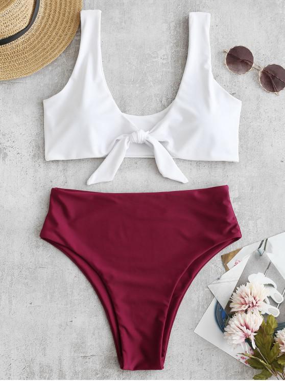 chic Two Tone High Cut Knotted Bikini Set - RED WINE S