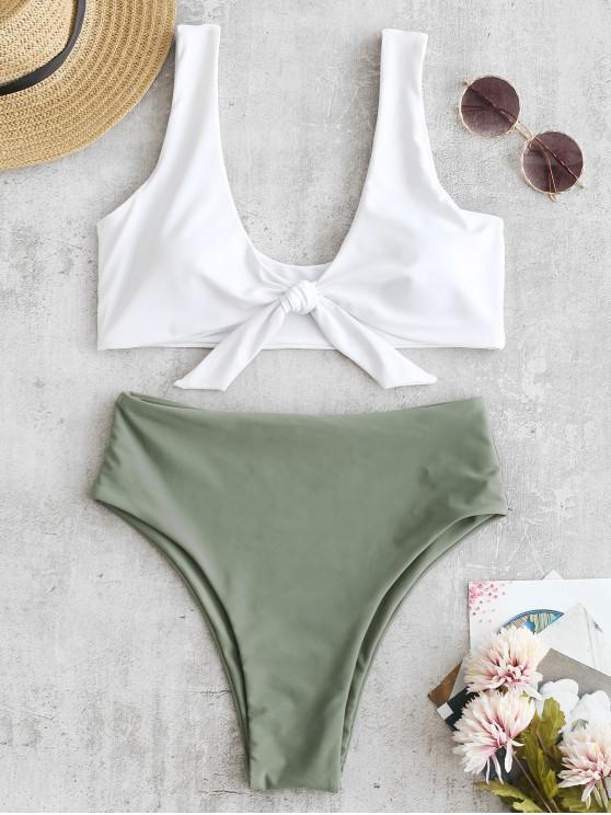 fancy Two Tone High Cut Knotted Bikini Set - CAMOUFLAGE GREEN M