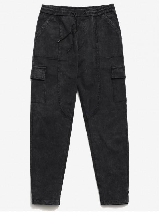 trendy Drawstring Elastic Waist Harem Jeans - BLACK 36