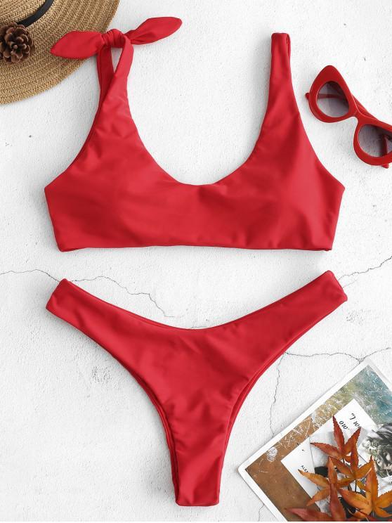 Bikini de Corte Bajo con Nudo de ZAFUL - Rojo Lava M