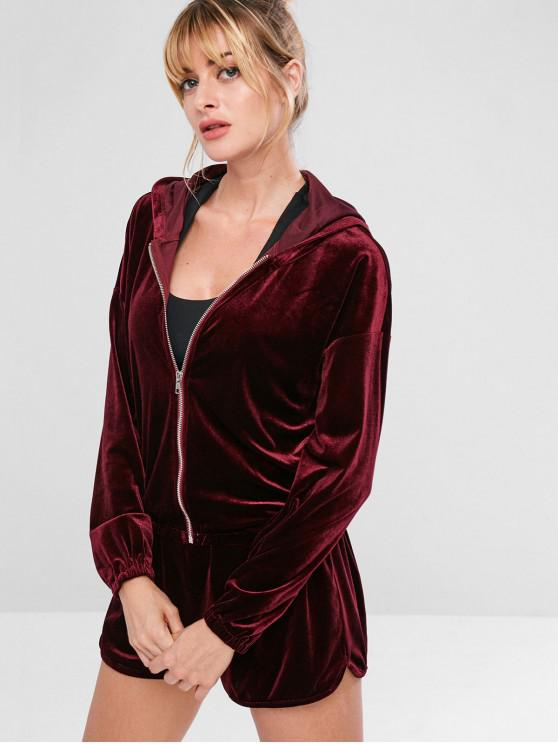 chic ZAFUL Drop Shoulder Velvet Jacket - RED WINE M
