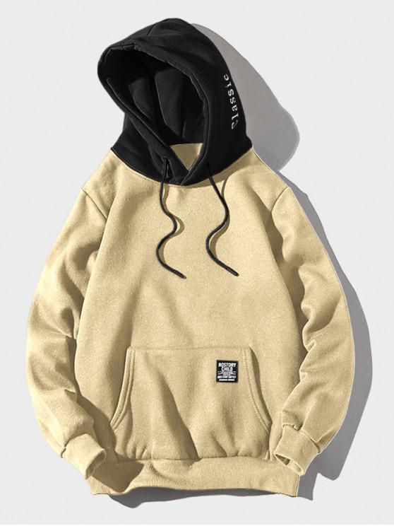 unique Color-blocking Letter Patch Detail Pouch Pocket Fleece Hoodie - LIGHT KHAKI XL