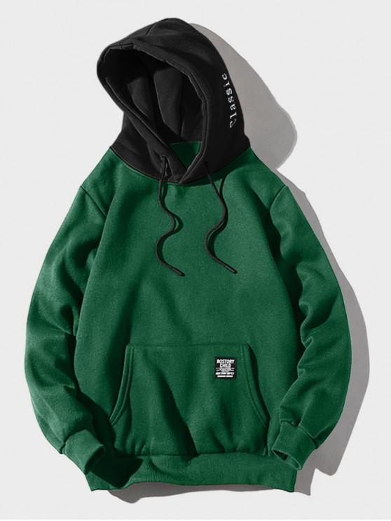 lady Color-blocking Letter Patch Detail Pouch Pocket Fleece Hoodie - MEDIUM SEA GREEN L