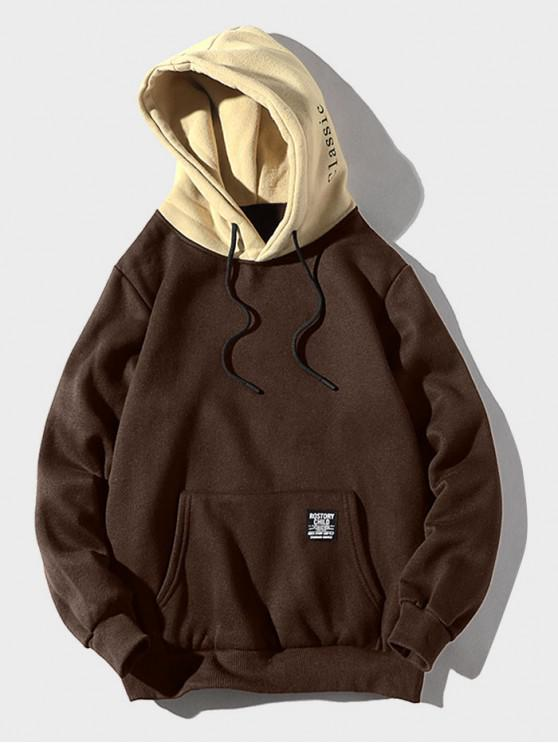 best Color-blocking Letter Patch Detail Pouch Pocket Fleece Hoodie - COFFEE XS