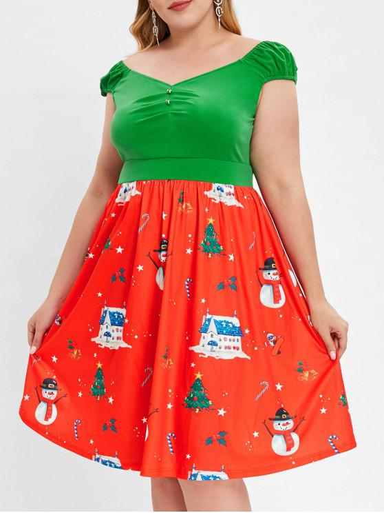 Plus Size Cap Sleeve Christmas Print Vintage Dress - roșu L