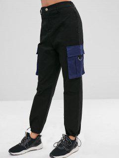 Parche De Bolsillo De Bolsillo Pantalones De Talle Alto - Negro M