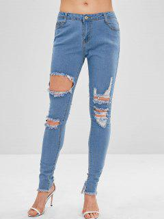 Frayed Hem Ripped Mid Waist Jeans - Denim Blue L