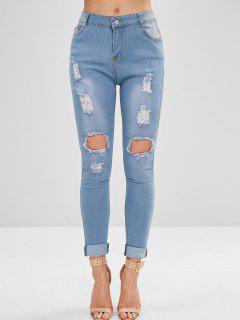 Jeans Ajustados Y Rotos De Bolsillo - Azul Denim L