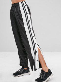 Buttoned Split Striped Side Wide Leg Pants - Black S