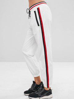 Side Stripe Joggers Track Pants - White S