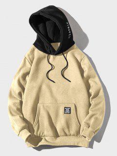 Color Block Letter Patch Detail Pouch Pocket Fleece Hoodie - Light Khaki L