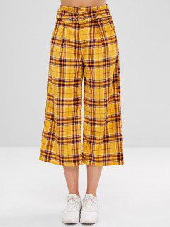 Pantalones De Pana A Cuadros Con Cinturón - Amarillo Brillante M