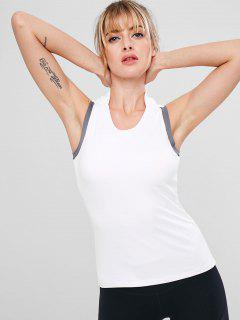 Built In Bra Color Block Tank Top - White L