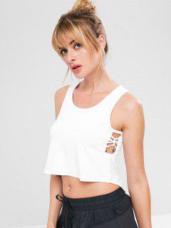 Camiseta De Tirantes Criss Cross High Low Crop - Blanco S