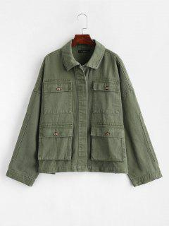 ZAFUL Drop Shoulder Pocket Denim Jacket - Army Green S