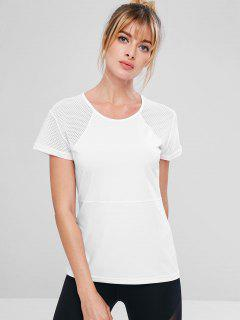 Perforated Stitching Gym T-shirt - White L