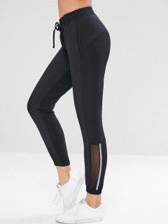 Pantalones De Diseño Reflectante Con Inserciones De Malla - Negro L