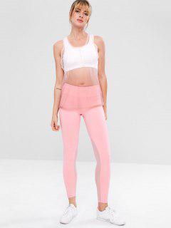 Sheer Mesh Zip Sports Yoga Set - Pink M