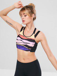 Criss Cross Mesh Insert Colored Bra - Multi-a S