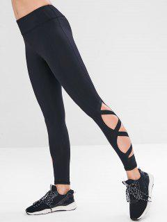 Sports Hollow Out Gym Leggings - Black L