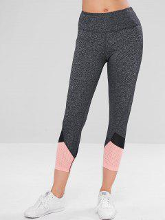 Perforated Heather Crop Workout Leggings - Dark Gray M