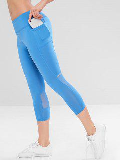 Mesh Insert Side Pocket Workout Leggings - Blue M